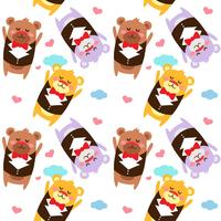 Seamless pattern with a cute bear