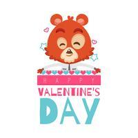Valentine's day bear in love background