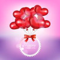 Realistischer Hintergrund mit Valentinsgrußballonen