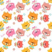 Colorful teddy bear pattern