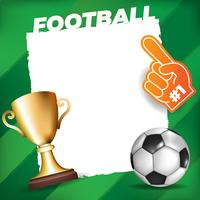Bola de futebol em um fundo de campo com moldura branca