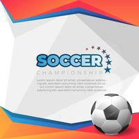Soccer poster on orange background with ball