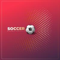 Soccer poster on halftone background with ball