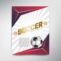 Soccer Tournament Cup poster op rode achtergrond met bal