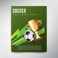 Cartel de fútbol sobre fondo verde con bola y taza