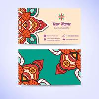 Ornamental floral business cards or invitation with mandala