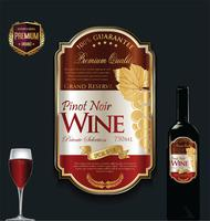 Luxury golden wine label vector illustration