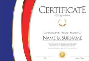 Certificado o diploma de diseño de la bandera de Francia.