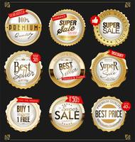 Retro vintage golden badges and labels collection
