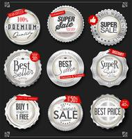 Retro vintage silver badges and labels collection
