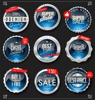 Retro silver and blue badge vector illustration collection