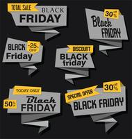 Collection d'autocollants et d'étiquettes modernes en origami noires vendredi