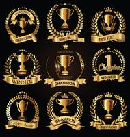 Sports trophies and awards retro black collection