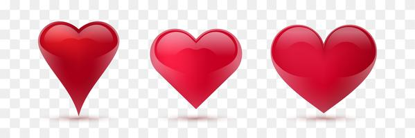 Set of vector hearts. Vector illustration. Realistic heart, isolated. - Vector