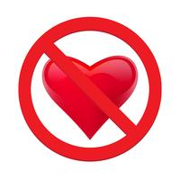 Ban love heart. Symbol of forbidden and stop love. Vector illustration - Vector