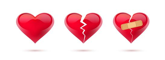 Broken hearts vector set of realistic icons and symbols. Isolated in white background. Vector illustration