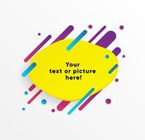 Forma abstracta amarilla del cuadro de texto con las líneas y los círculos de neón de moda. Vector de fondo