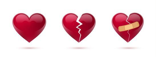 Conjunto del vector de los corazones quebrados de iconos y de símbolos realistas. Aislado en el fondo blanco Ilustración vectorial