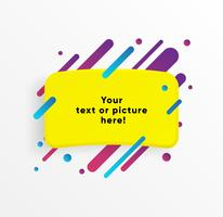 Yellow abstract Text box shape with trendy neon lines and circles. Vector background.