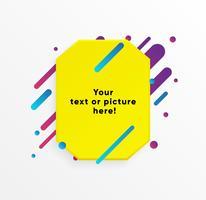 Forma di casella di testo astratto giallo con linee al neon alla moda e cerchi. Sfondo vettoriale