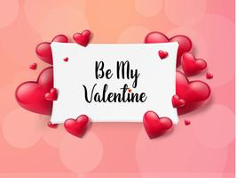Valentine's day background with text box and beautiful hearts. Vector illustration
