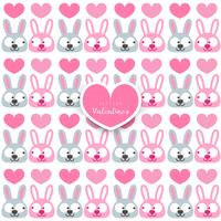 Valentine's day. seamless pattern with rabbit