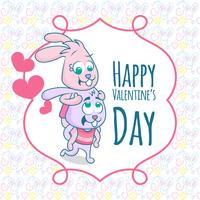 Happy valentine's Day. Two happy rabbit in funny pose