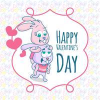 Feliz día de San Valentín. Dos conejo feliz en pose graciosa