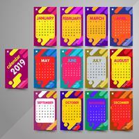 2019 kleurrijke kalender