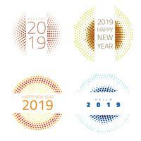 Año nuevo 2019 colección de etiquetas y distintivos.
