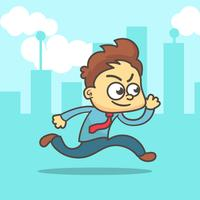 Simple cartoon of a businessman running