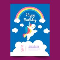 Birthday card with pretty unicorn and cloud