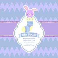 Cute baby shower card with rabbit