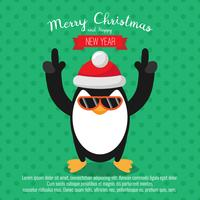 Card with christmas penguin