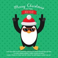 Tarjeta con pingüino de navidad