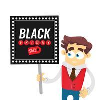 Black Friday-het ontwerpmalplaatje van de verkoopinschrijving. Zakenman cartoon