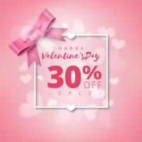 Valentines day super sale background. Pink abstract background with ribbon