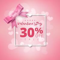 Fondo di vendita eccellente di giorno di San Valentino. Rosa sfondo astratto con nastro