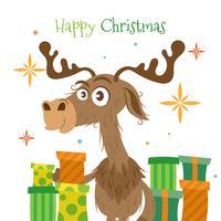 Sfondo di Natale con renne e regali