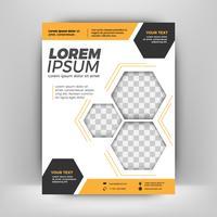 Modelo de layout abstrato laranja e preto panfleto com fundo de pessoas, fundo de folheto, folheto com tampa,
