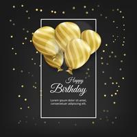 Carta di compleanno con palloncini dorati e testo di compleanno. Sfondo nero