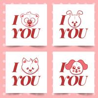 I love you. valentine's day greeting card with different cute animals