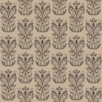 Motivo floreale Wallpaper barocco, damasco. Sfondo vettoriale senza soluzione di continuità. Ornamento marrone