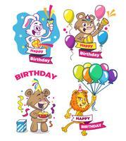 Feliz cumpleaños. Set de tarjetas de felicitación con lindos animales.