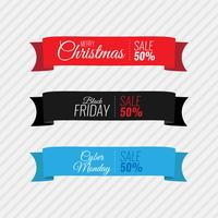 Merry Christmas black Friday and cyber Monday ribbon