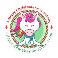 Sfondo di Natale con un unicorno carino