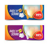 Back to school banners collection with elements