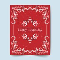 Feiertage der frohen Weihnachten wünschen Grußkartendesign und roten Hintergrund