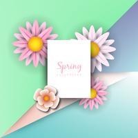 Concepto de ilustración de primavera Fondo de verano con manzanilla y delicado fondo verde.