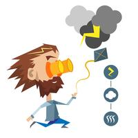 Scientist running after the clouds. Icons representative to electricity, clouds and wind